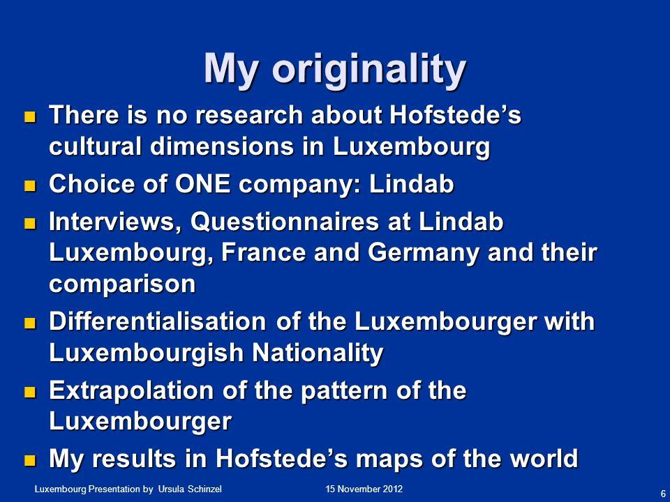 15 November 2012Luxembourg Presentation by Ursula Schinzel Chapter 4: Data Analysis Interviews (Primary Data).