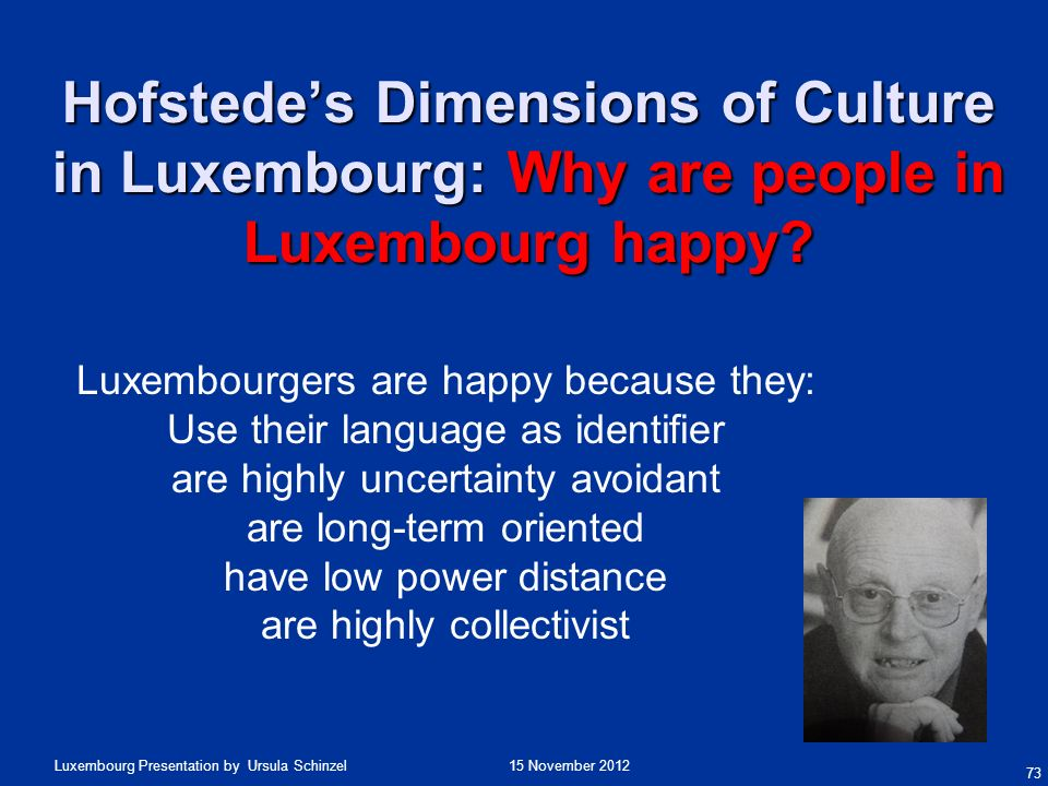 15 November 2012Luxembourg Presentation by Ursula Schinzel 73 Hofstedes Dimensions of Culture in Luxembourg: Why are people in Luxembourg happy? Luxem