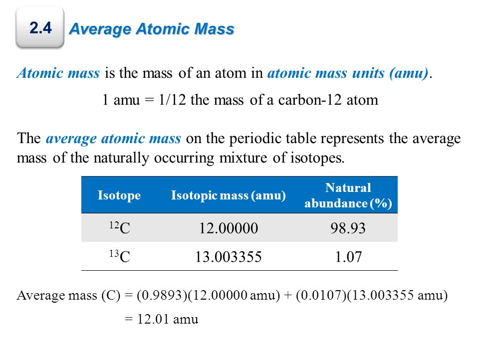 Average Atomic Mass 2.4 Atomic mass is the mass of an atom in atomic mass units (amu). 1 amu = 1/12 the mass of a carbon-12 atom The average atomic ma