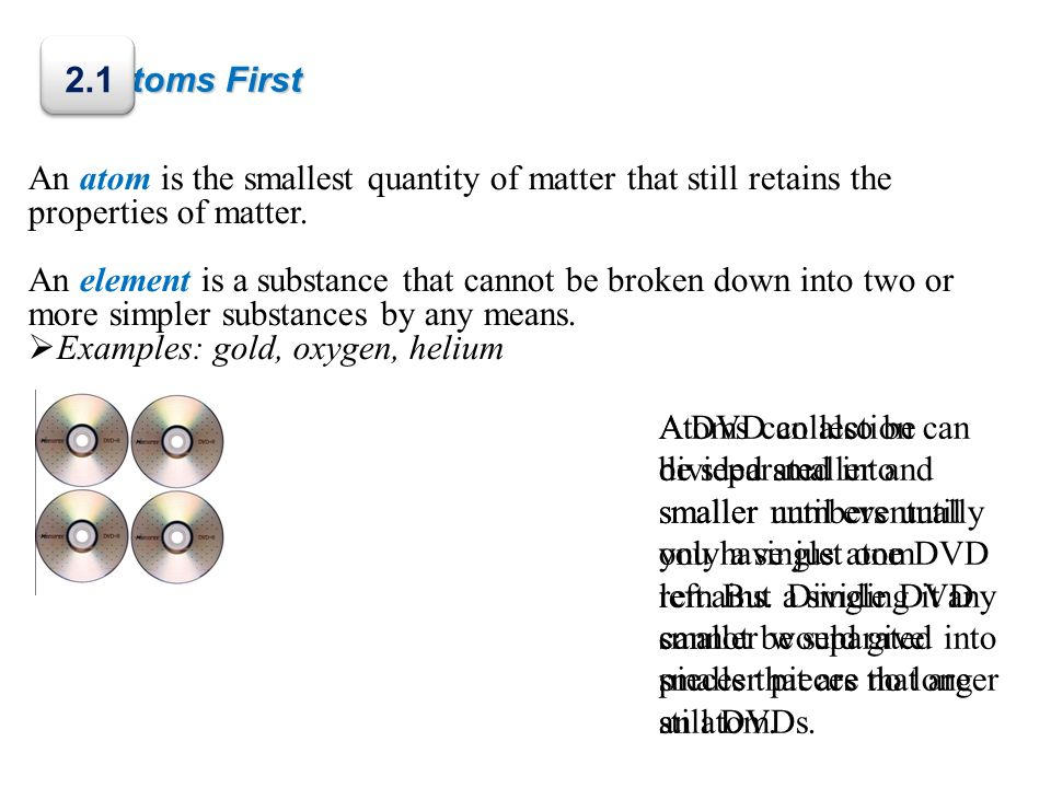 Atoms First Once a single atom has been obtained, dividing it smaller produces subatomic particles.