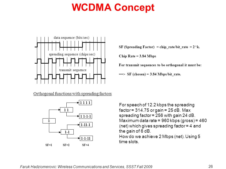 Faruk Hadziomerovic: Wireless Communications and Services, SSST Fall 2009 26 WCDMA Concept data sequence (bits/sec) spreading sequence (chips/sec) transmit sequence SF (Spreading Factor) = chip_rate/bit_rate = 2^k.
