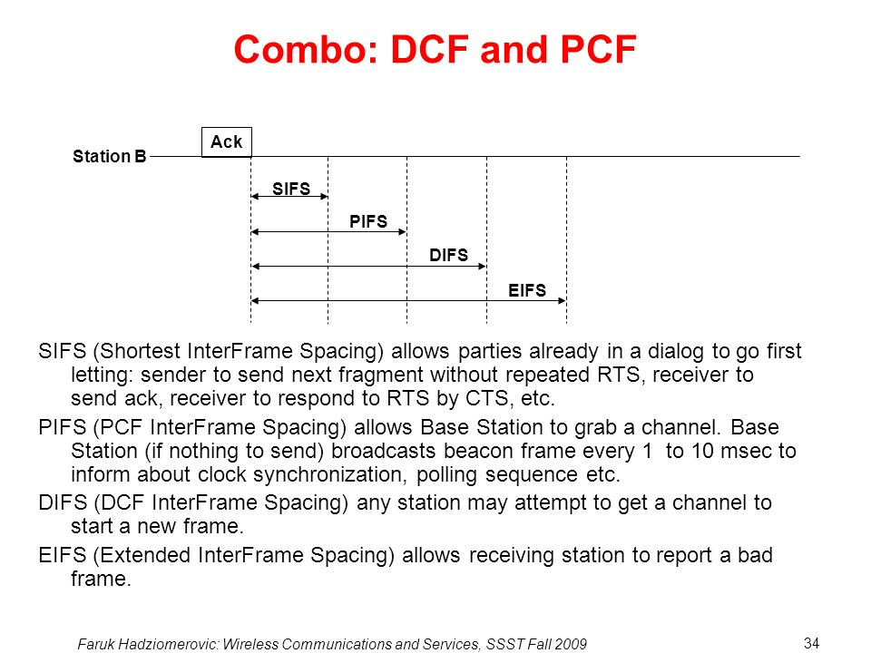 Faruk Hadziomerovic: Wireless Communications and Services, SSST Fall 2009 34 Combo: DCF and PCF SIFS (Shortest InterFrame Spacing) allows parties already in a dialog to go first letting: sender to send next fragment without repeated RTS, receiver to send ack, receiver to respond to RTS by CTS, etc.