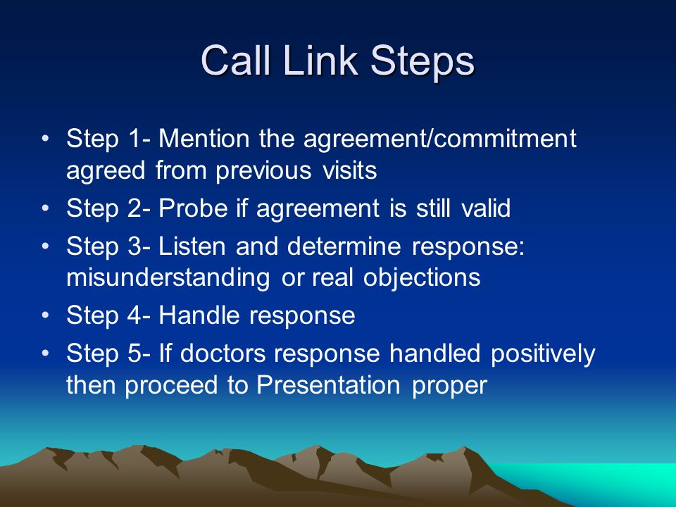 Call Link Steps Step 1- Mention the agreement/commitment agreed from previous visits Step 2- Probe if agreement is still valid Step 3- Listen and dete