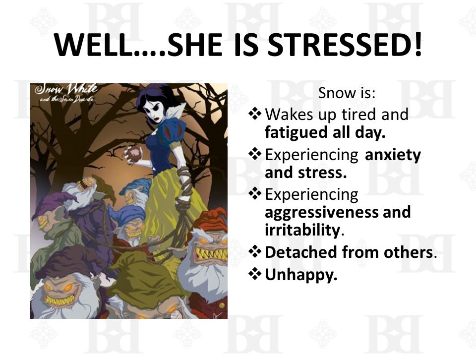 WELL….SHE IS STRESSED! Snow is: Wakes up tired and fatigued all day. Experiencing anxiety and stress. Experiencing aggressiveness and irritability. De