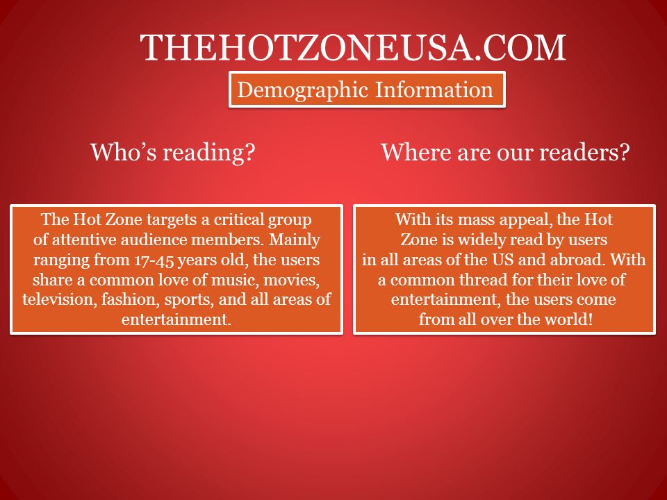 THEHOTZONEUSA.COM Whos reading?Where are our readers? Demographic Information The Hot Zone targets a critical group of attentive audience members. Mai