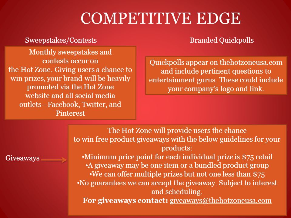 COMPETITIVE EDGE Sweepstakes/Contests Monthly sweepstakes and contests occur on the Hot Zone. Giving users a chance to win prizes, your brand will be