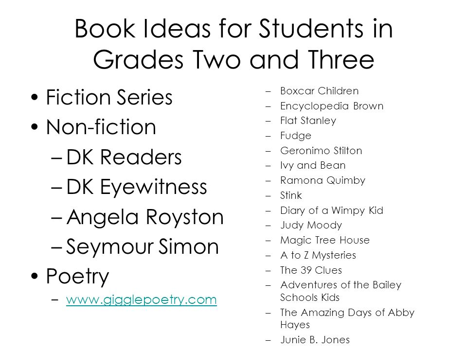 Book Ideas for Students in Grades Two and Three Fiction Series Non-fiction –DK Readers –DK Eyewitness –Angela Royston –Seymour Simon Poetry –www.gigglepoetry.comwww.gigglepoetry.com –Boxcar Children –Encyclopedia Brown –Flat Stanley –Fudge –Geronimo Stilton –Ivy and Bean –Ramona Quimby –Stink –Diary of a Wimpy Kid –Judy Moody –Magic Tree House –A to Z Mysteries –The 39 Clues –Adventures of the Bailey Schools Kids –The Amazing Days of Abby Hayes –Junie B.