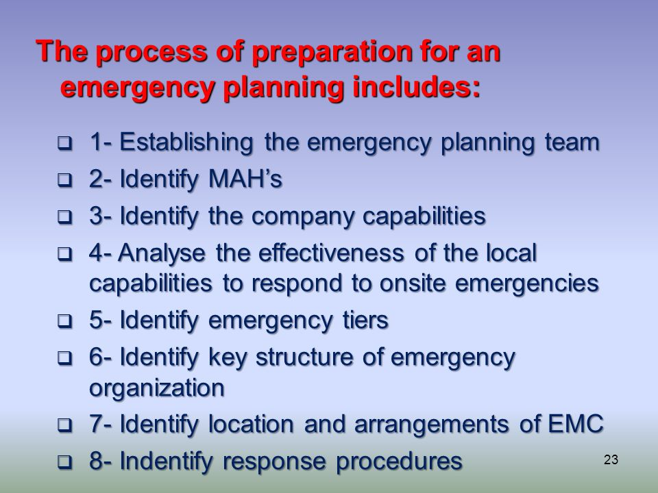23 The process of preparation for an emergency planning includes: 1- Establishing the emergency planning team 1- Establishing the emergency planning t