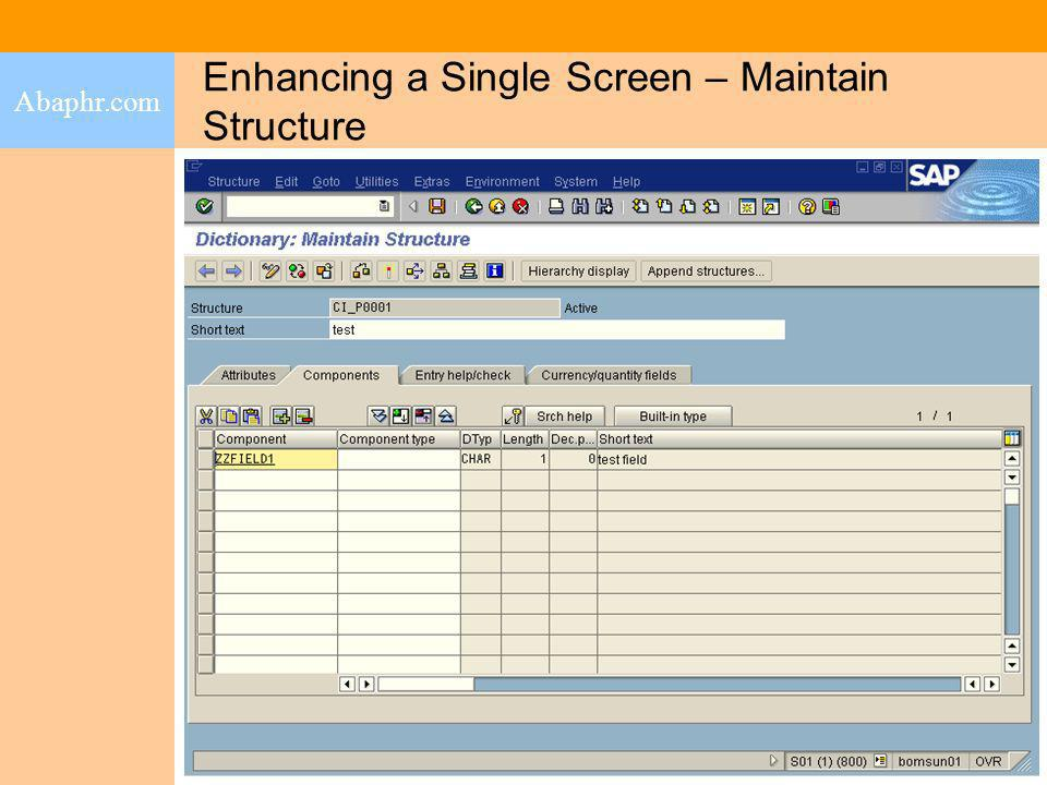 Enhancing a Single Screen – Maintain Structure Abaphr.com