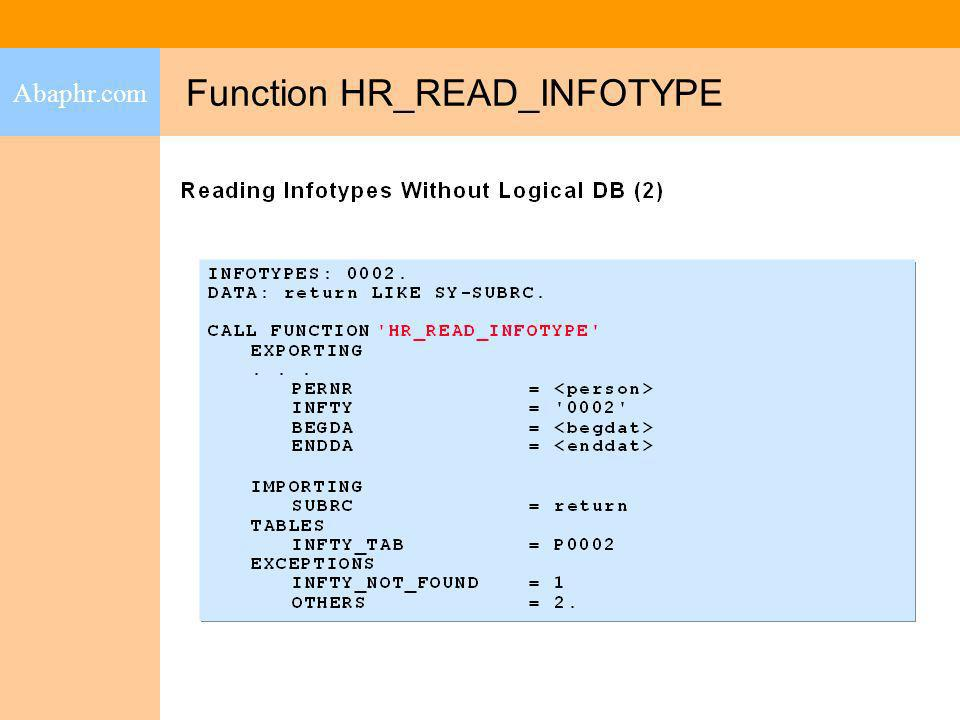 Function HR_READ_INFOTYPE Abaphr.com