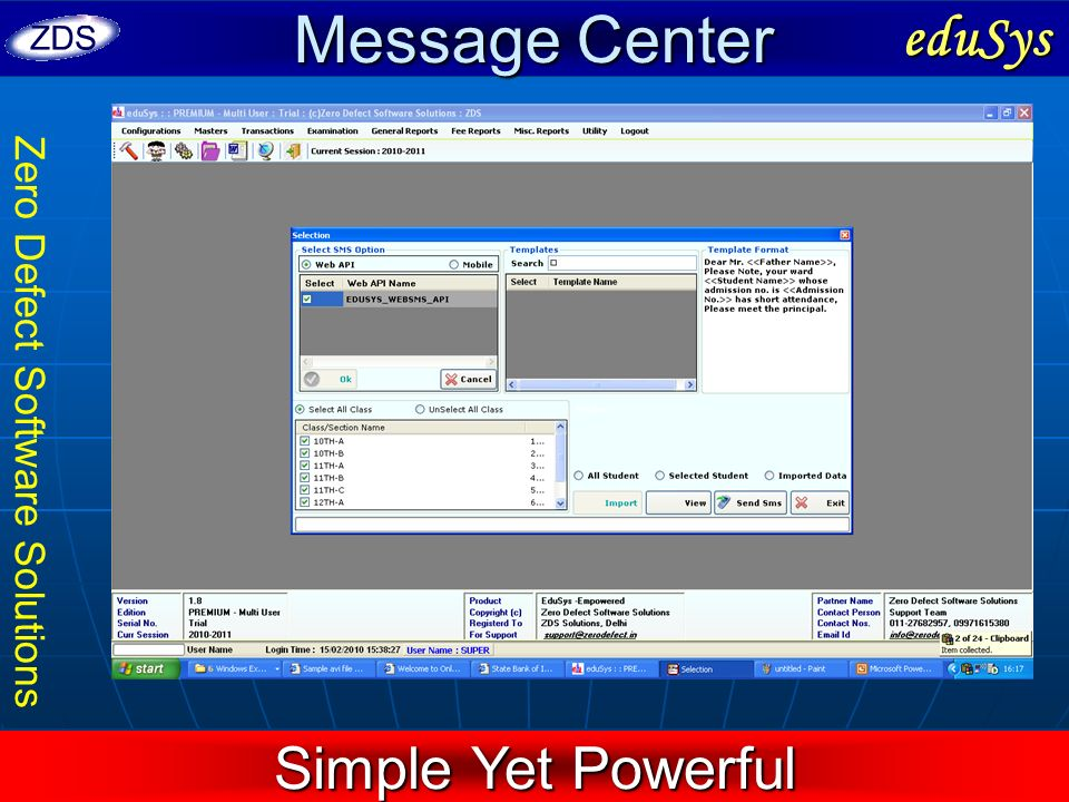 Zero Defect Software Solutions Message Center eduSys Simple Yet Powerful