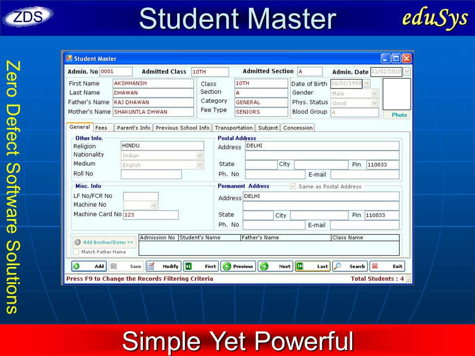 Zero Defect Software Solutions Student Master eduSys Simple Yet Powerful