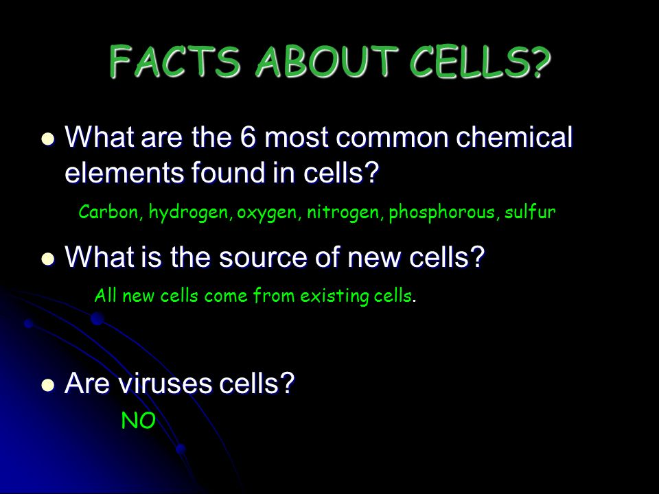 FACTS ABOUT CELLS? What are the 6 most common chemical elements found in cells? What are the 6 most common chemical elements found in cells? What is t