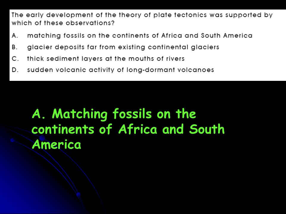 A. Matching fossils on the continents of Africa and South America