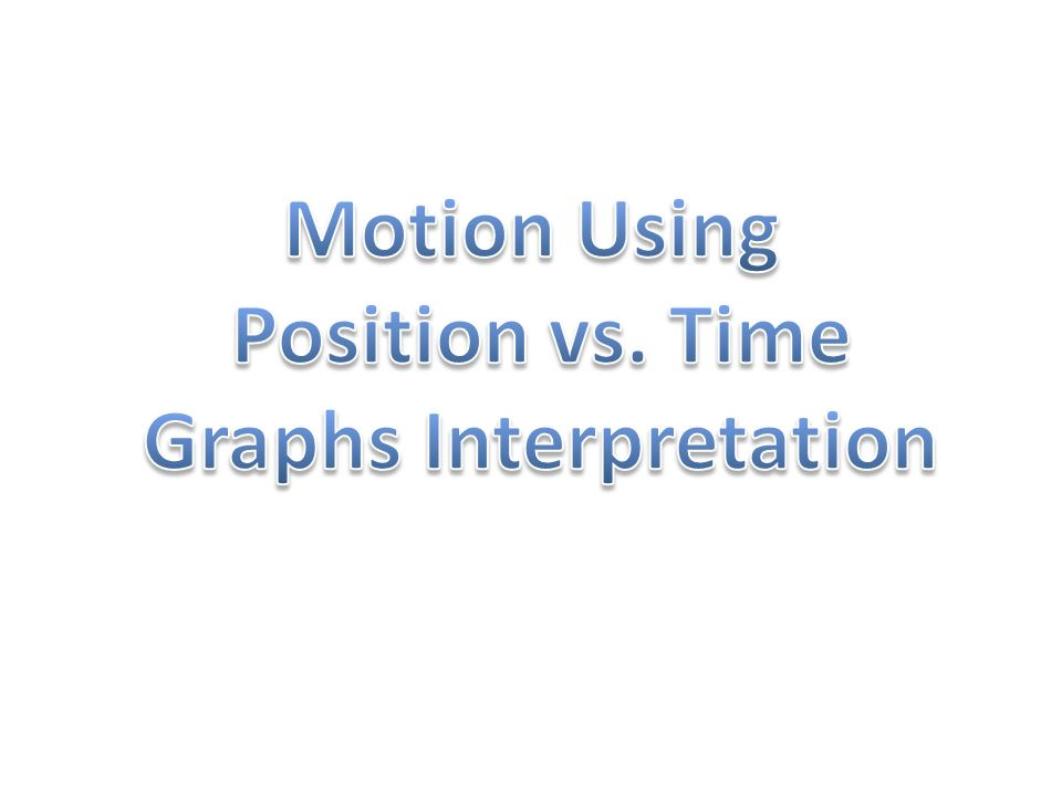 Each group should have a Motion Using Position vs.