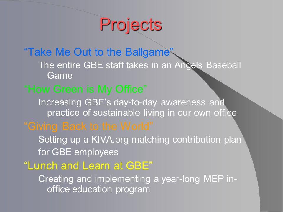 Projects Take Me Out to the Ballgame The entire GBE staff takes in an Angels Baseball Game How Green is My Office Increasing GBEs day-to-day awareness