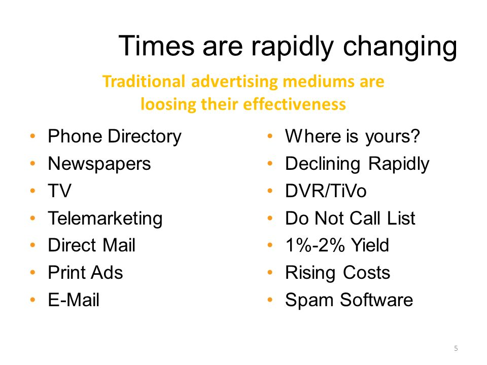 Times are rapidly changing Phone Directory Newspapers TV Telemarketing Direct Mail Print Ads E-Mail Where is yours.