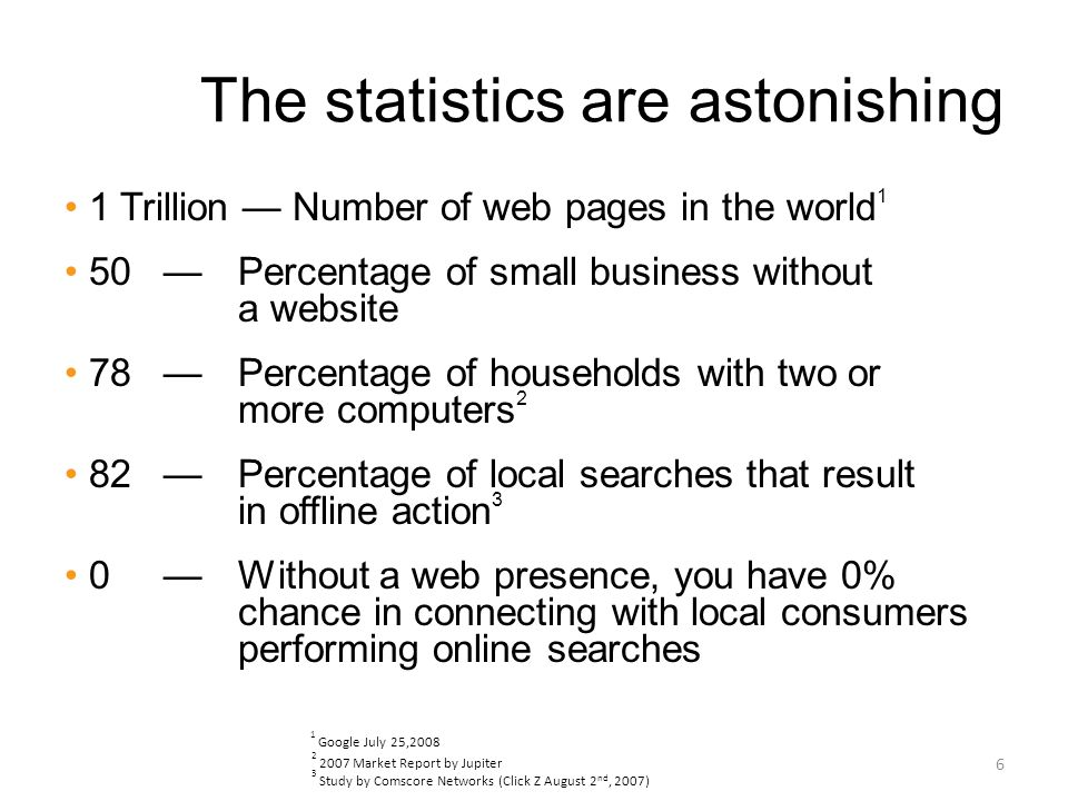 The statistics are astonishing 1 Trillion Number of web pages in the world 1 50 Percentage of small business without a website 78 Percentage of households with two or more computers 2 82 Percentage of local searches that result in offline action 3 0 Without a web presence, you have 0% chance in connecting with local consumers performing online searches 6 1 Google July 25,2008 2 2007 Market Report by Jupiter 3 Study by Comscore Networks (Click Z August 2 nd, 2007)
