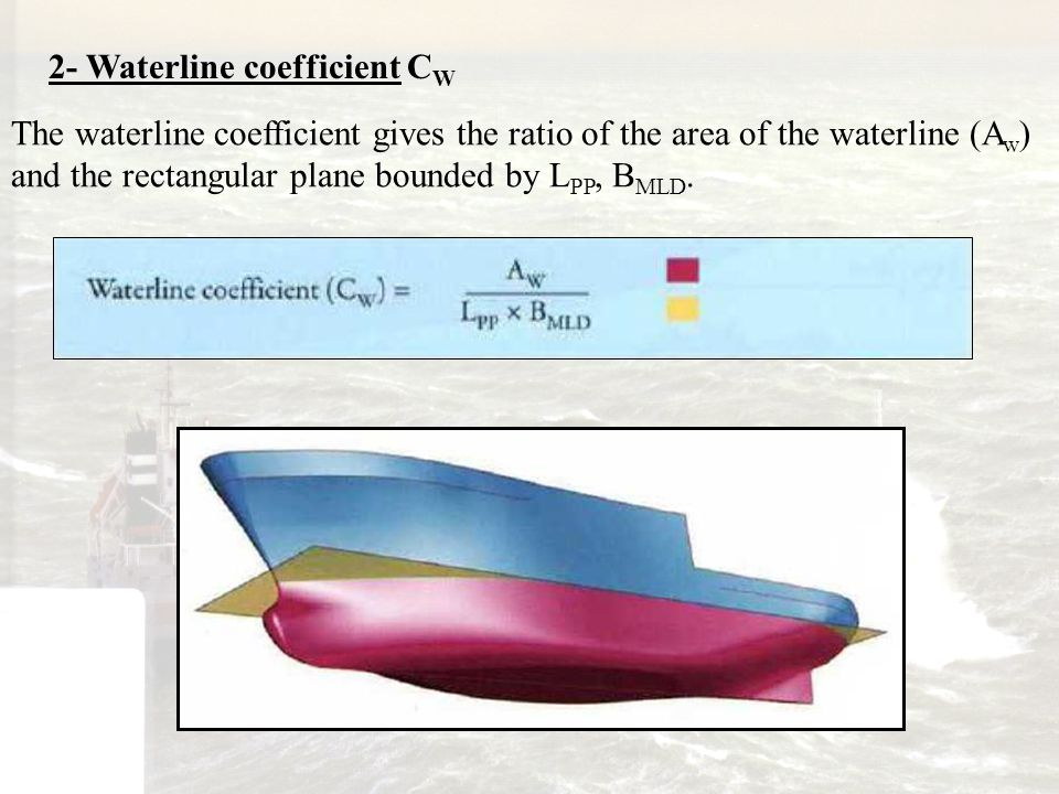 2- Waterline coefficient C W The waterline coefficient gives the ratio of the area of the waterline (A w ) and the rectangular plane bounded by L PP,