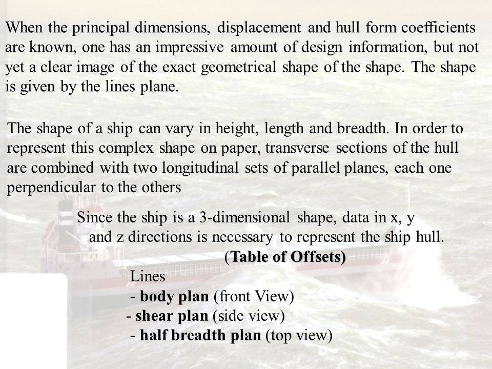When the principal dimensions, displacement and hull form coefficients are known, one has an impressive amount of design information, but not yet a cl