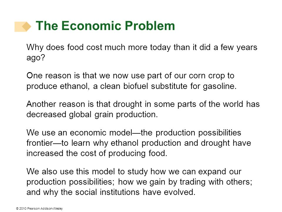© 2010 Pearson Addison-Wesley Why does food cost much more today than it did a few years ago? One reason is that we now use part of our corn crop to p