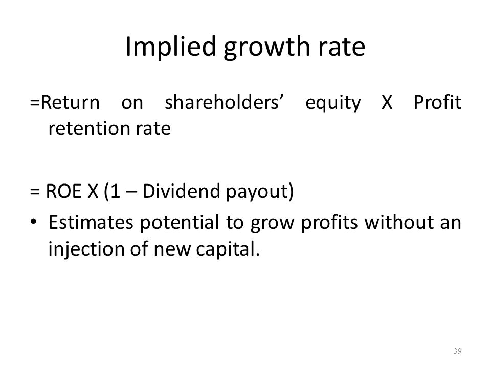 Implied growth rate =Return on shareholders equity X Profit retention rate = ROE X (1 – Dividend payout) Estimates potential to grow profits without a