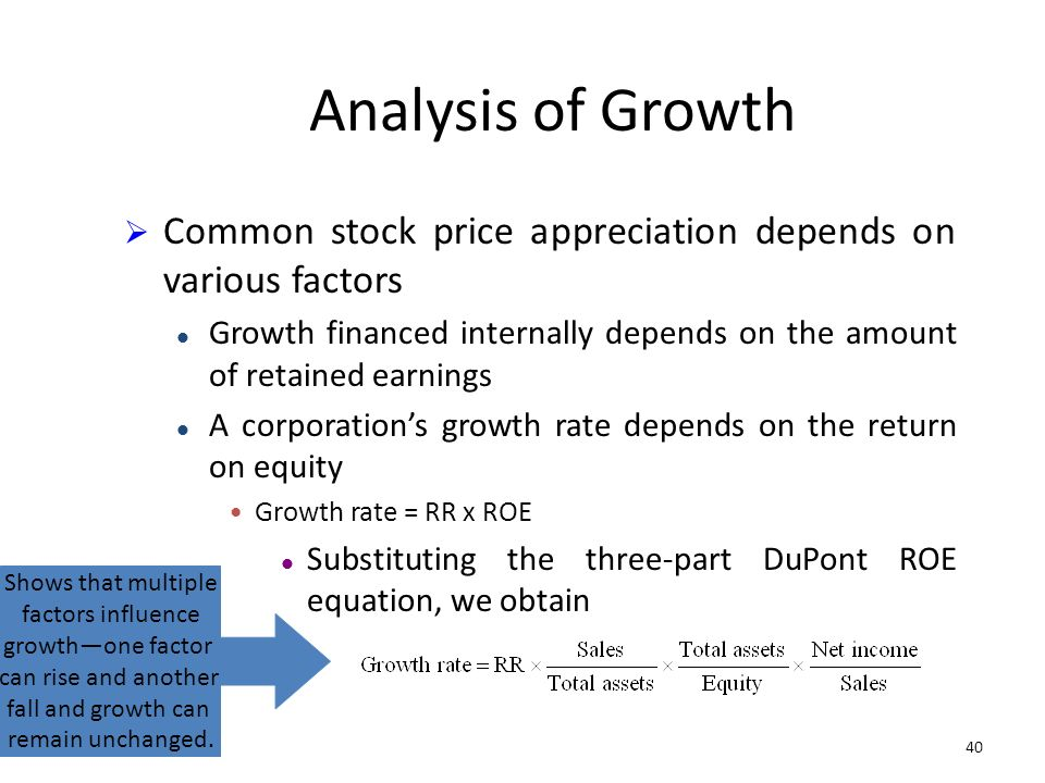 40 Analysis of Growth Common stock price appreciation depends on various factors Growth financed internally depends on the amount of retained earnings