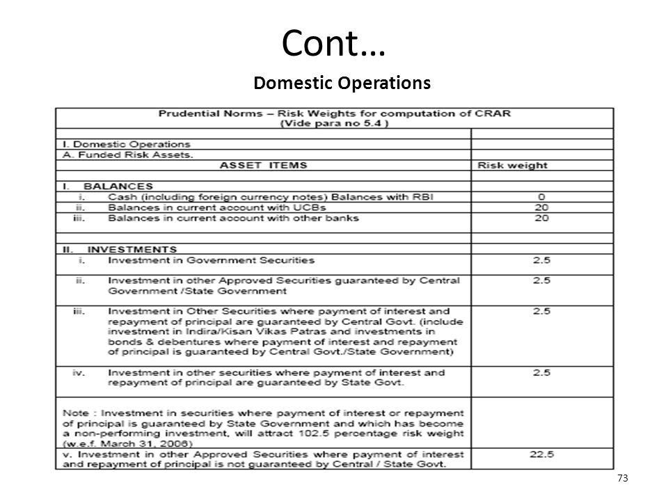 Cont… 73 Domestic Operations