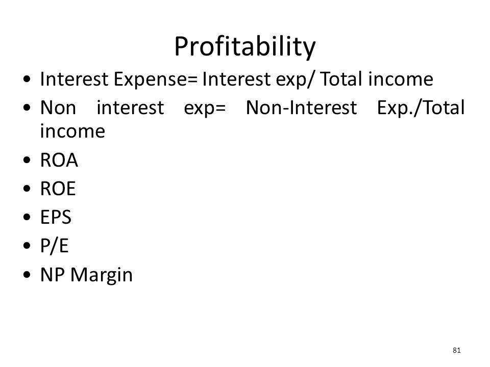 81 Profitability Interest Expense= Interest exp/ Total income Non interest exp= Non-Interest Exp./Total income ROA ROE EPS P/E NP Margin