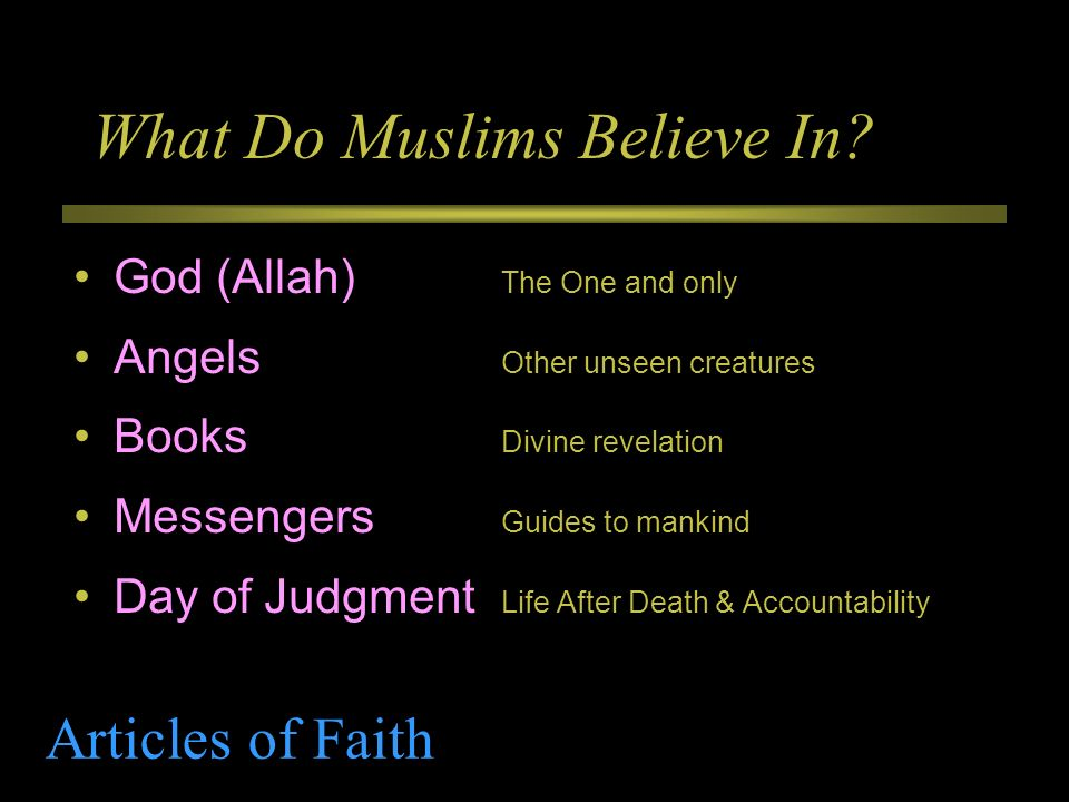 What Do Muslims Believe In? God (Allah) The One and only Angels Other unseen creatures Books Divine revelation Messengers Guides to mankind Day of Jud