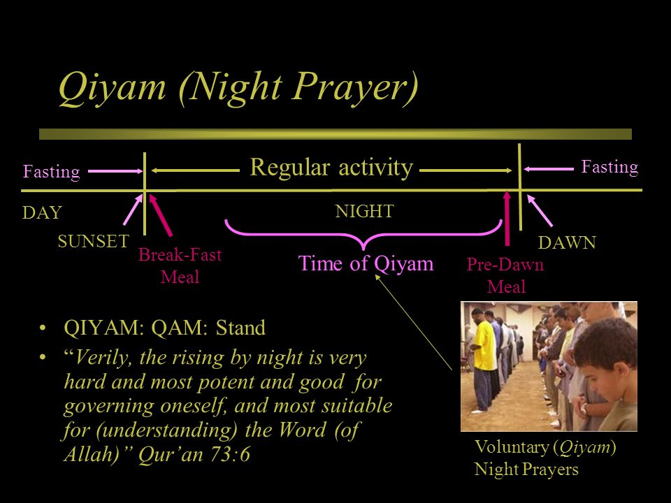 QIYAM: QAM: Stand Verily, the rising by night is very hard and most potent and good for governing oneself, and most suitable for (understanding) the W