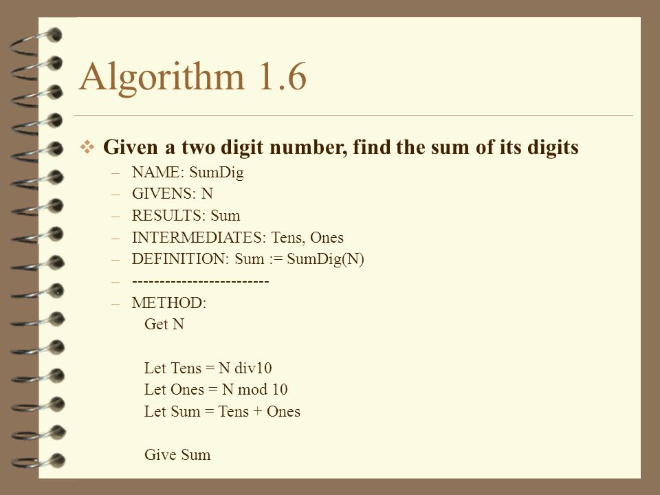 Algorithm 1.6 Given a two digit number, find the sum of its digits –NAME: SumDig –GIVENS: N –RESULTS: Sum –INTERMEDIATES: Tens, Ones –DEFINITION: Sum