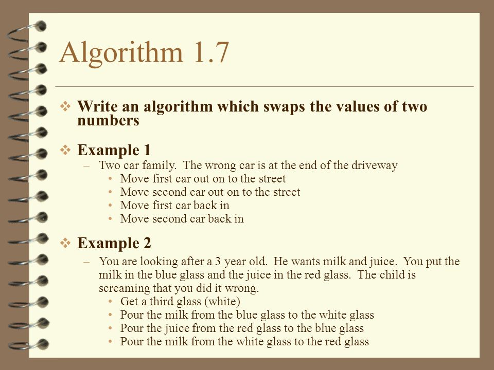 Algorithm 1.7 Write an algorithm which swaps the values of two numbers Example 1 –Two car family. The wrong car is at the end of the driveway Move fir