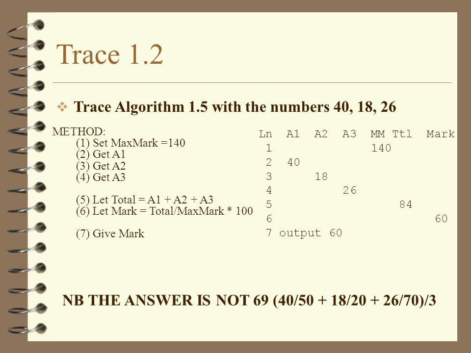 Trace 1.2 Trace Algorithm 1.5 with the numbers 40, 18, 26 METHOD: (1) Set MaxMark =140 (2) Get A1 (3) Get A2 (4) Get A3 (5) Let Total = A1 + A2 + A3 (