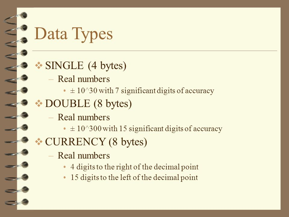 Data Types SINGLE (4 bytes) –Real numbers ± 10^30 with 7 significant digits of accuracy DOUBLE (8 bytes) –Real numbers ± 10^300 with 15 significant di
