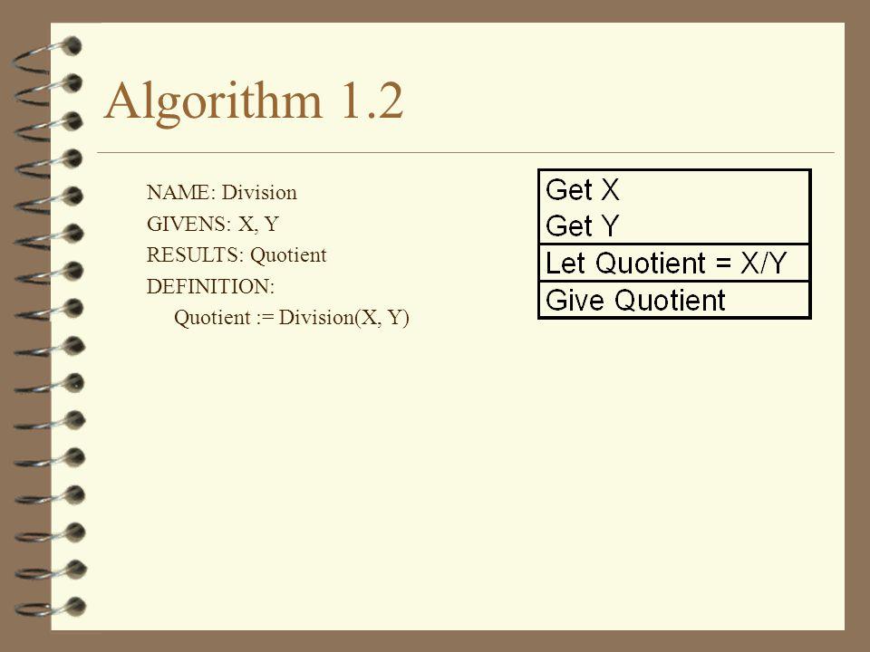 Algorithm 1.2 NAME: Division GIVENS: X, Y RESULTS: Quotient DEFINITION: Quotient := Division(X, Y)