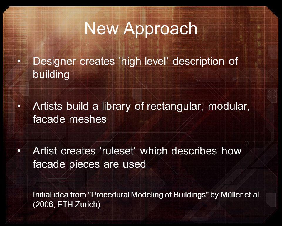 New Approach Designer creates 'high level' description of building Artists build a library of rectangular, modular, facade meshes Artist creates 'rule