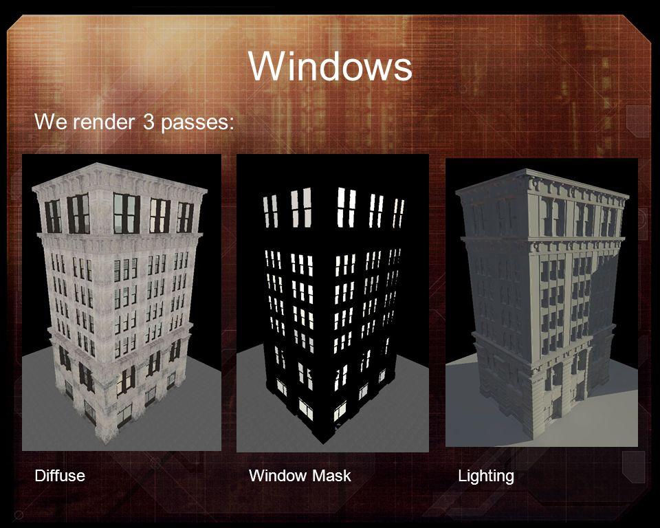 Windows DiffuseWindow MaskLighting We render 3 passes: