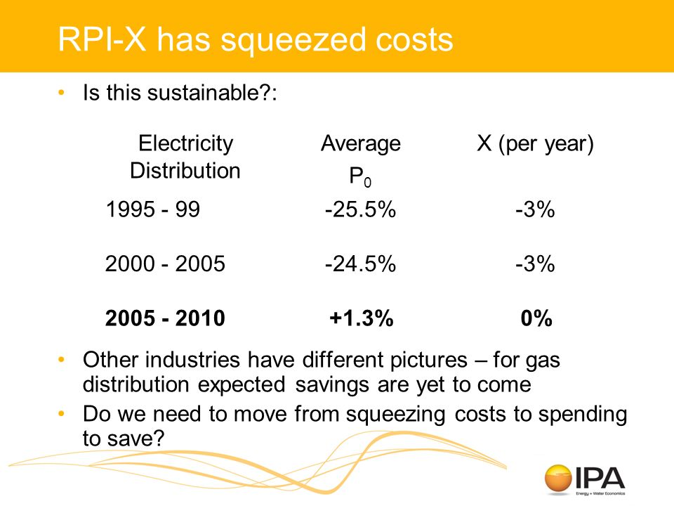 RPI-X has squeezed costs Is this sustainable : Other industries have different pictures – for gas distribution expected savings are yet to come Do we need to move from squeezing costs to spending to save.