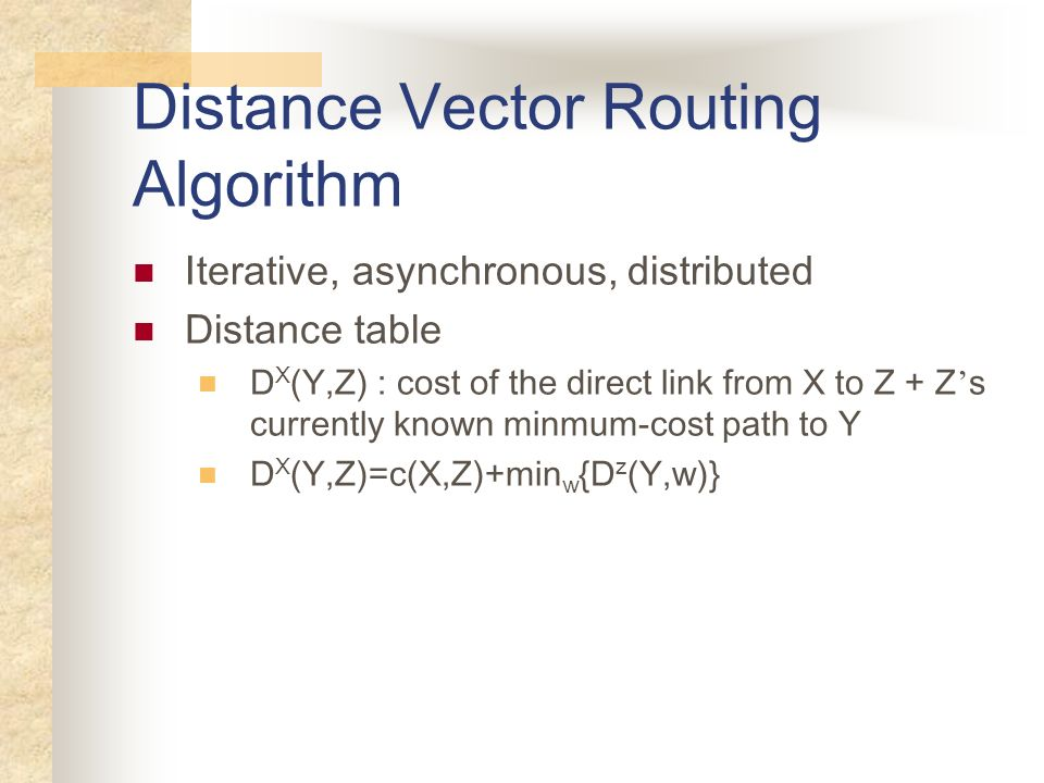 Distance Vector Routing Algorithm Iterative, asynchronous, distributed Distance table D X (Y,Z) : cost of the direct link from X to Z + Z s currently
