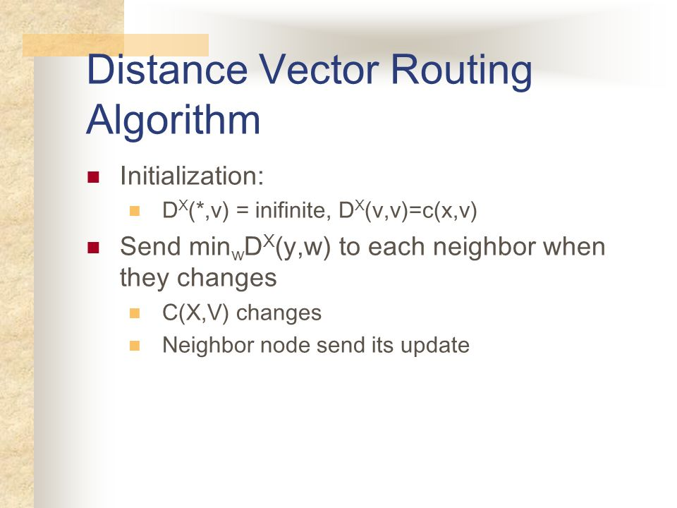 Distance Vector Routing Algorithm Initialization: D X (*,v) = inifinite, D X (v,v)=c(x,v) Send min w D X (y,w) to each neighbor when they changes C(X,