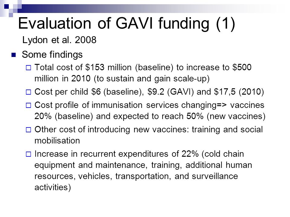 Evaluation of GAVI funding (1) Lydon et al.