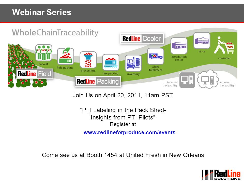 Webinar Series Join Us on April 20, 2011, 11am PST PTI Labeling in the Pack Shed- Insights from PTI Pilots Register at www.redlineforproduce.com/event