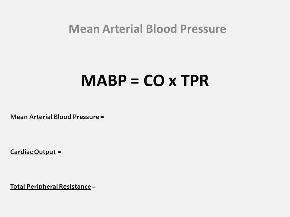 MABP = CO x TPR Mean Arterial Blood Pressure Mean Arterial Blood Pressure = Cardiac Output = Total Peripheral Resistance =