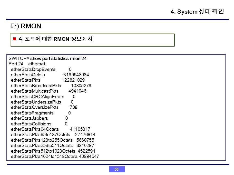 35 ) RMON RMON SWITCH# show port statistics rmon 24 Port 24 ethernet etherStatsDropEvents 0 etherStatsOctets 3199948934 etherStatsPkts 122821029 ether