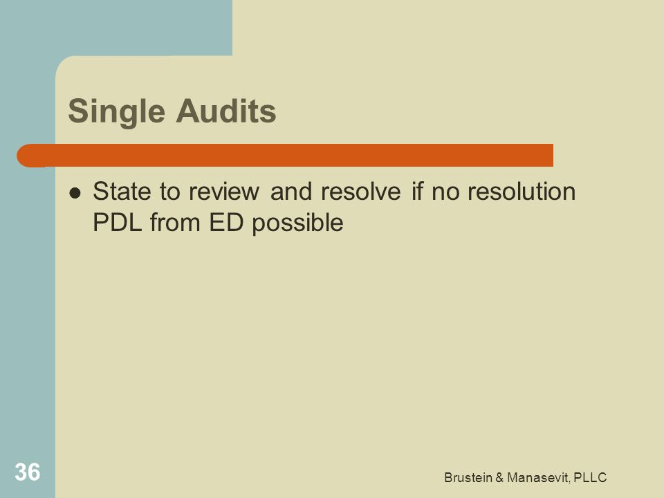 Single Audits State to review and resolve if no resolution PDL from ED possible 36 Brustein & Manasevit, PLLC