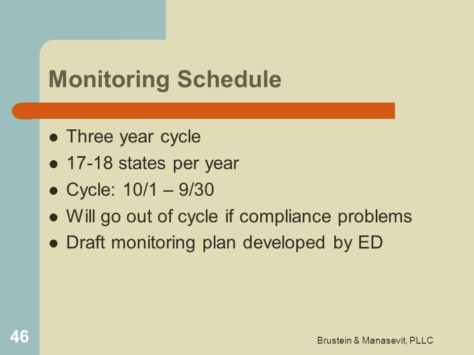 Monitoring Schedule Three year cycle 17-18 states per year Cycle: 10/1 – 9/30 Will go out of cycle if compliance problems Draft monitoring plan develo