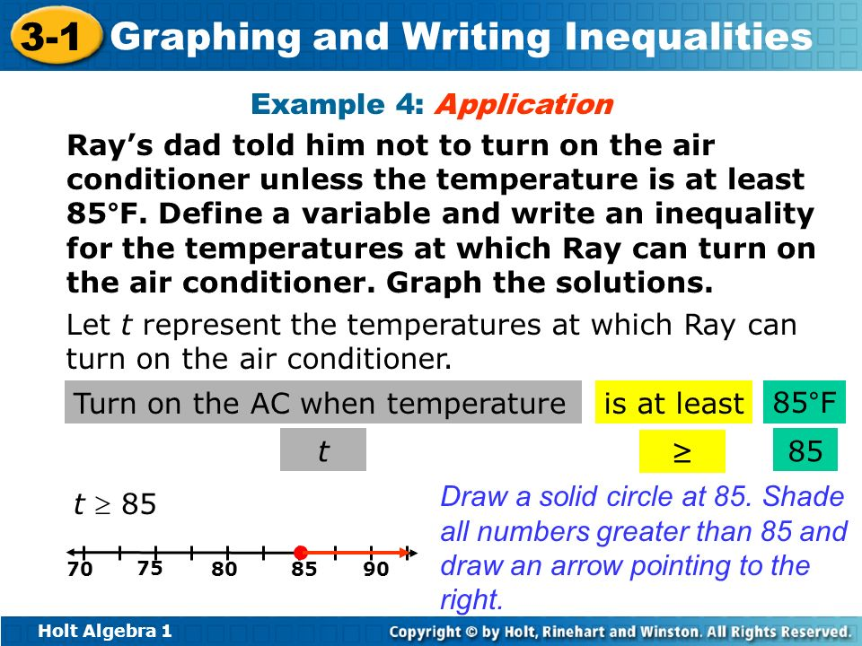 Holt Algebra 1 3-1 Graphing and Writing Inequalities Example 4: Application Rays dad told him not to turn on the air conditioner unless the temperatur
