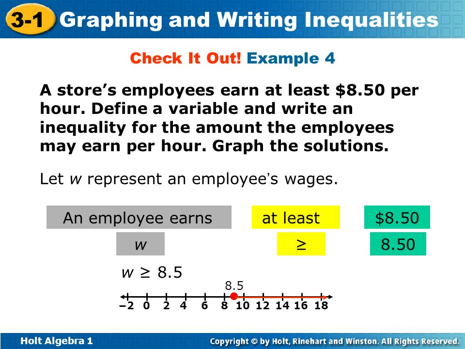 Holt Algebra 1 3-1 Graphing and Writing Inequalities A stores employees earn at least $8.50 per hour. Define a variable and write an inequality for th