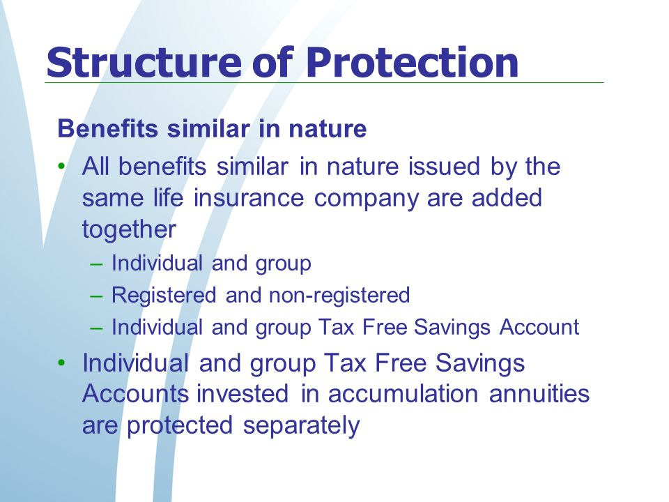 Structure of Protection Benefits similar in nature All benefits similar in nature issued by the same life insurance company are added together –Individual and group –Registered and non-registered –Individual and group Tax Free Savings Account Individual and group Tax Free Savings Accounts invested in accumulation annuities are protected separately